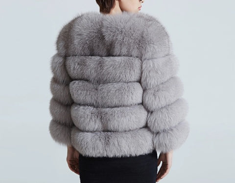 MISSY Light Grey Fur Coat