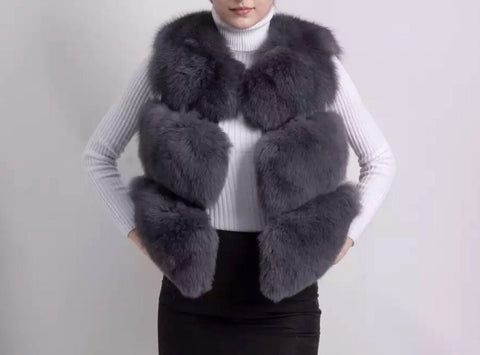 LAVISH Dark Grey Fur Gilet