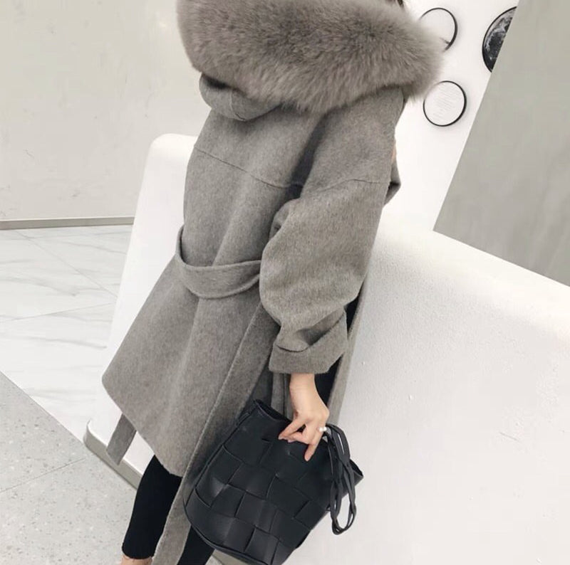 MISSY Dark Grey Fur Coat