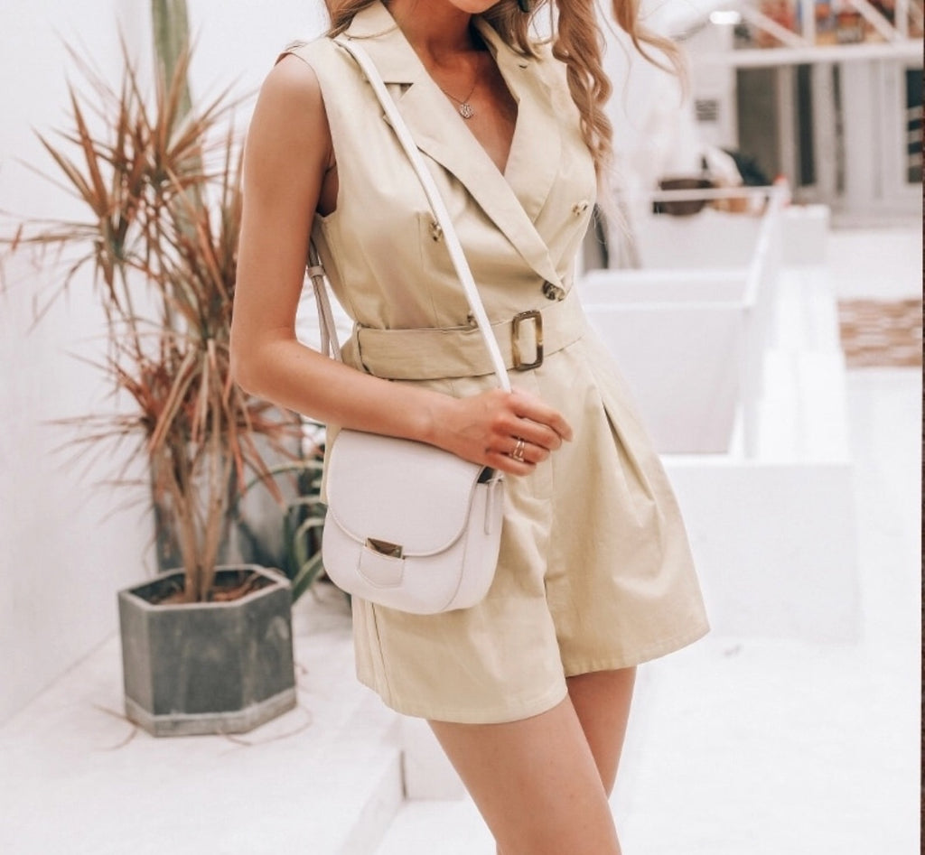 Katerina Playsuit, beige playsuit