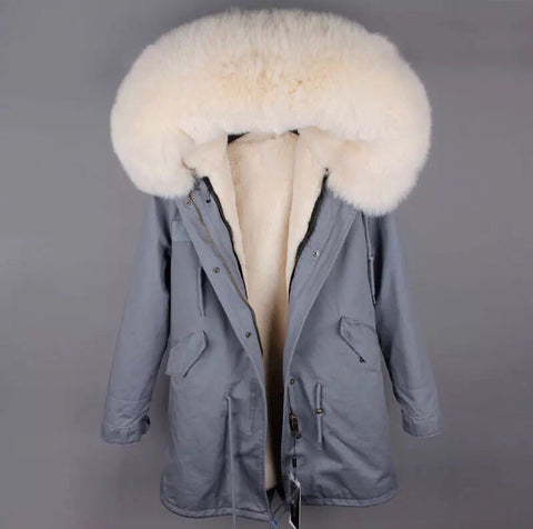 DUCHESS CREAM ON GREY PARKA Pre Order
