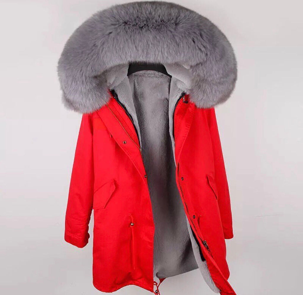 DUCHESS GREY ON RED PARKA Pre Order