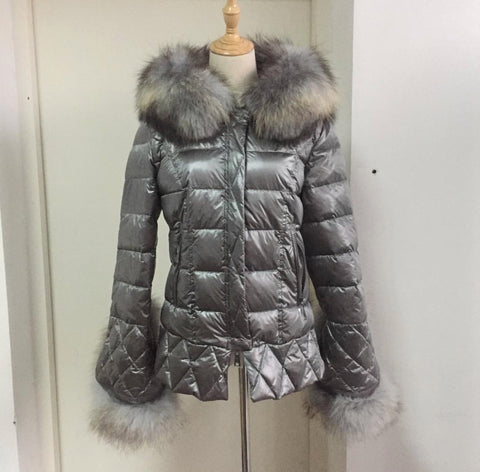 Grandeur Gun Metal with Grey Fur Duck Down Coat