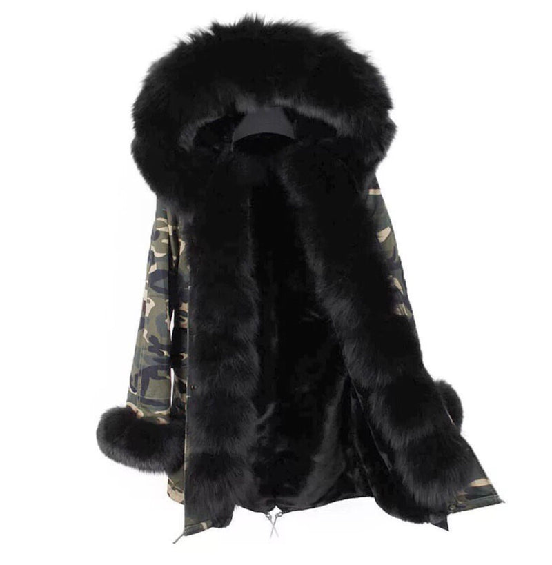 Prinny black army fur parka coat
