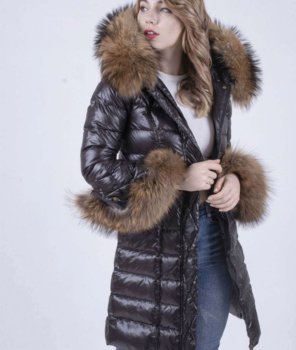 The Grandeur Fox Fur & Duck Down Coat Longer Length