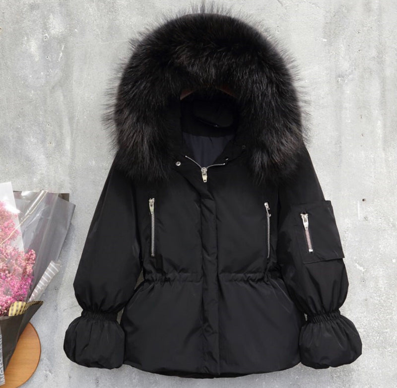 The Grandeur Duck Down Coat with Natural Grey Fur EARLY BIRD DISCOUNT