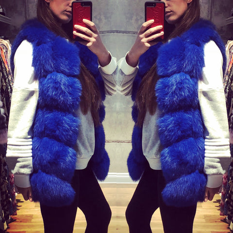 LUXE Royal Blue Fur Gilet