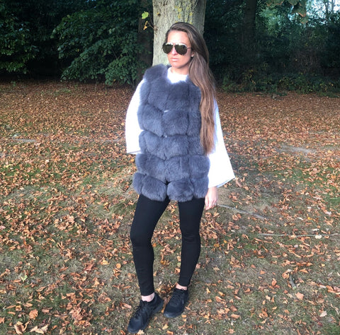 LUXE Grey Fur Gilet