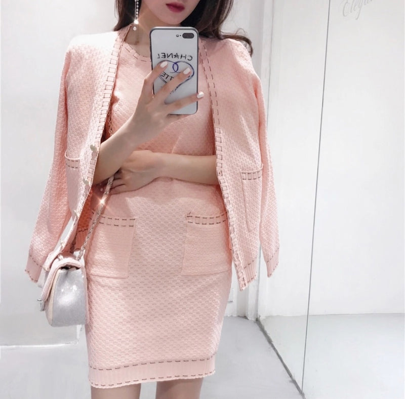 MEGAN PINK DRESS & CARDIGAN SET