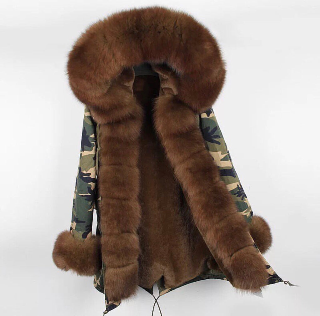Prinny brown fur army print parka coat
