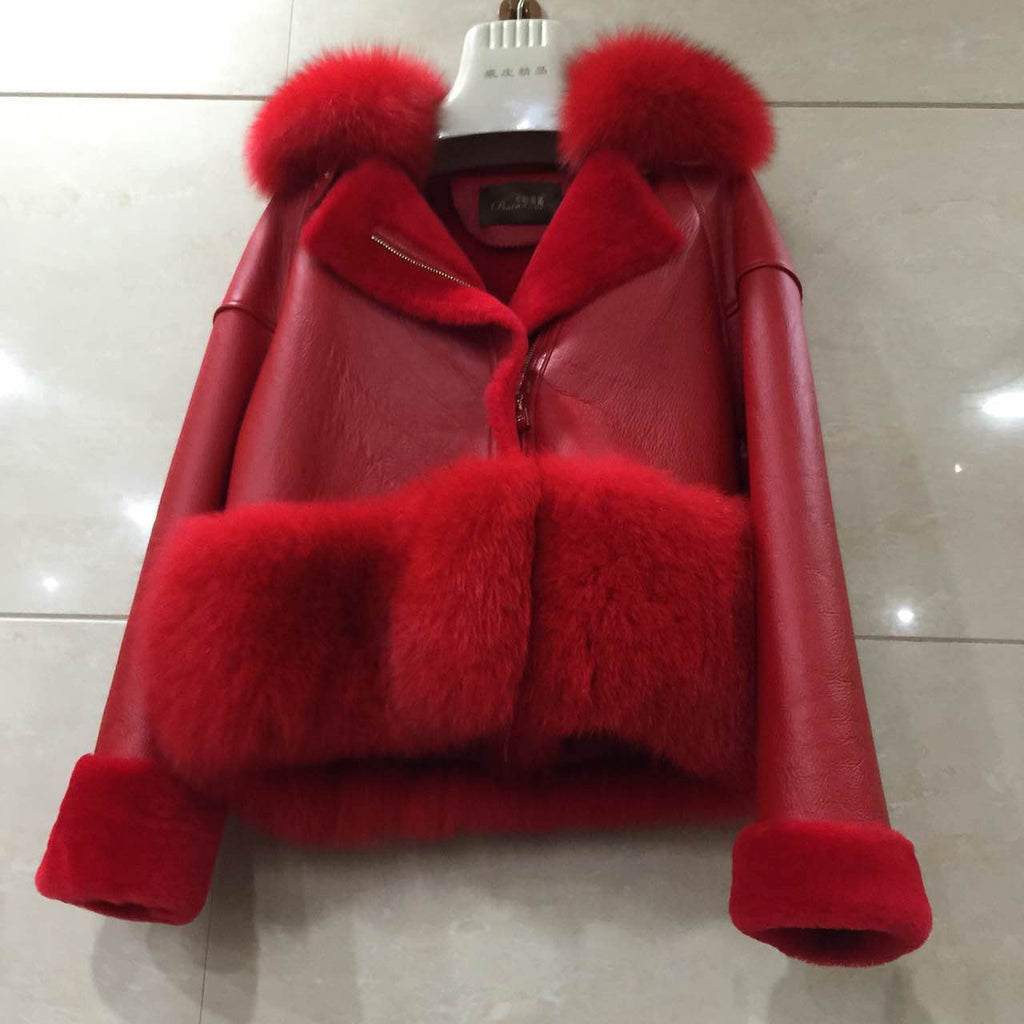 Red Shearling Jacket with Fox Fur Collar & Cuffs PRE ORDER
