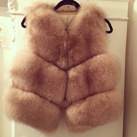 LAVISH Light Beige Fur Gilet