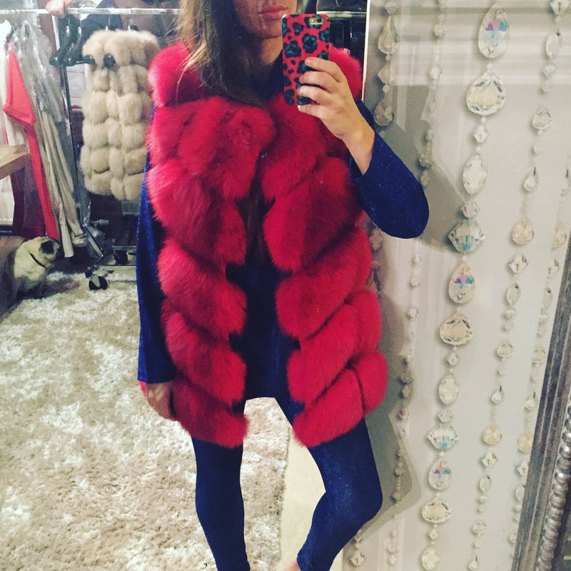 LUXE Bright Red Fur Gilet