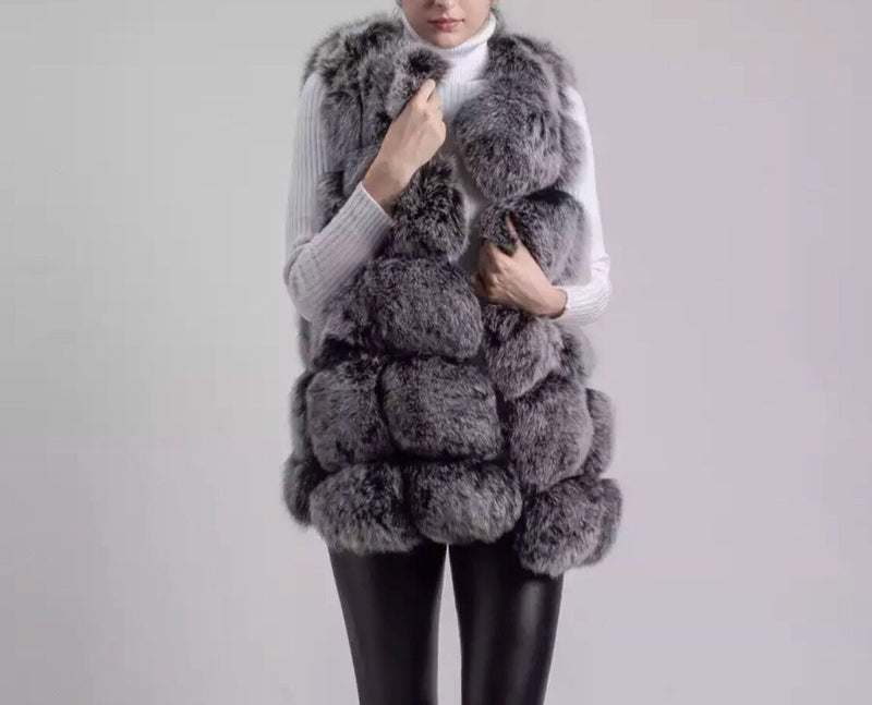 LUXE Black / White Fur Gilet