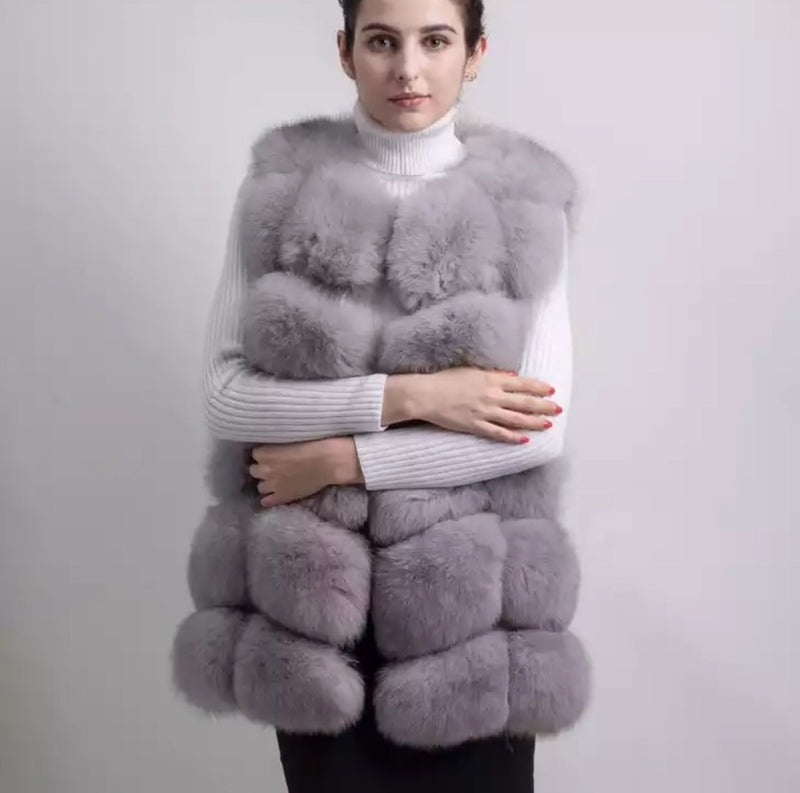 LUXE Natural White Fur Gilet