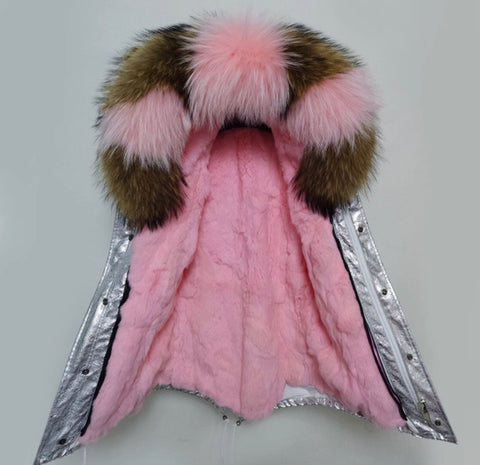 DUCHESS Silver with Pink / Natural Fur