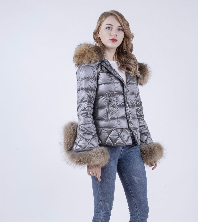 The Grandeur Gun Metal Natural Fur Duck Down Coat