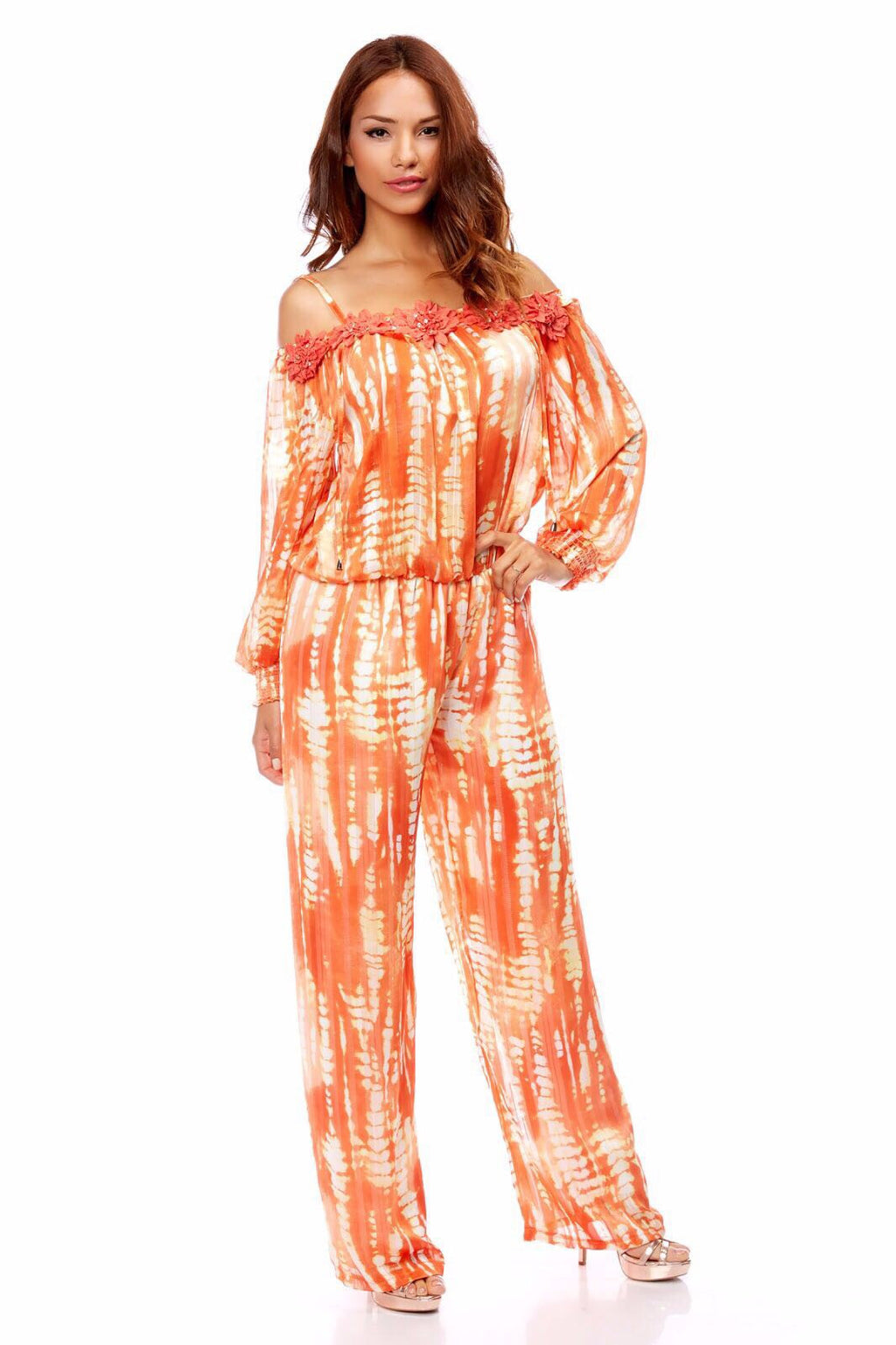 MIMI FLOWERS Orange Jumpsuit