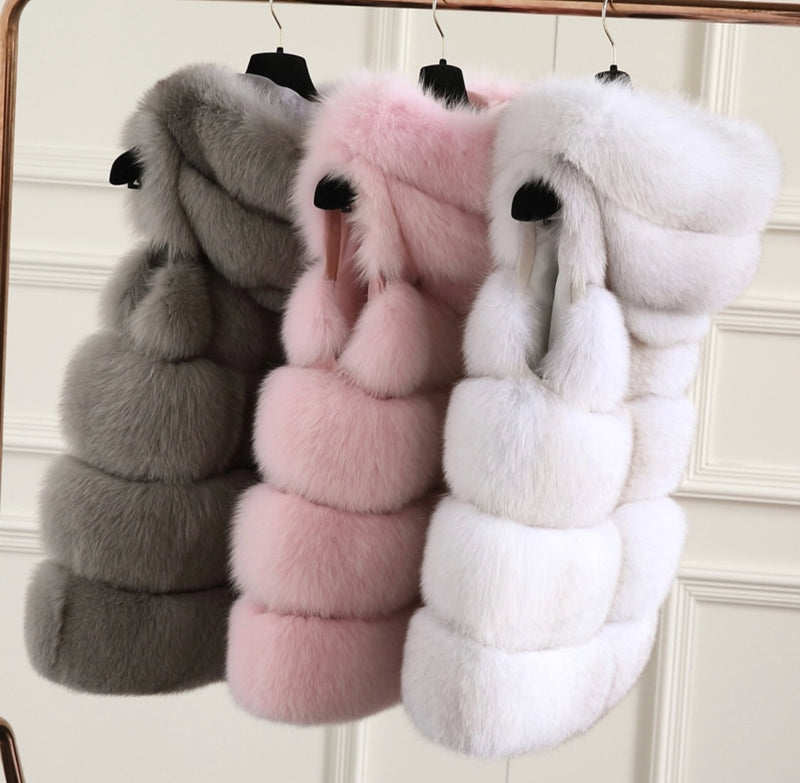 ARCTICA Pink Hooded Fur Gilet