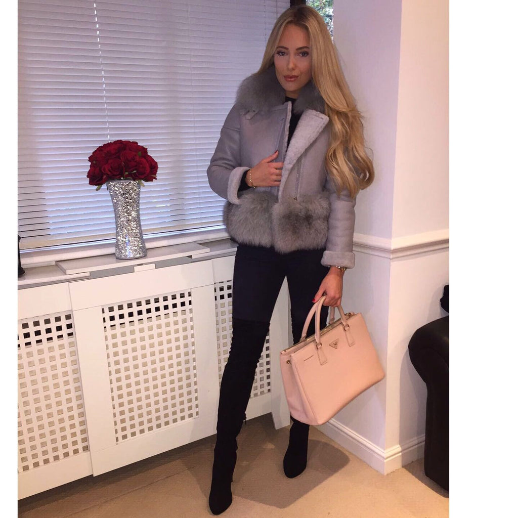 Grey Shearling Jacket with Fox Fur Collar & Cuffs PRE ORDER