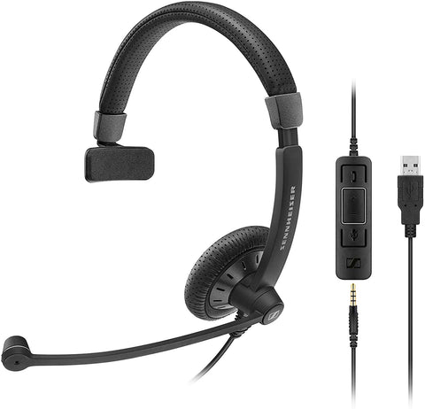 Sennheiser SC 45 USB MS (507083) - Single-Sided Business Headset | For Skype for Business, Mobile Phone, Tablet, Softphone, and PC | HD Sound & Noise-Cancelling Microphone (Black)