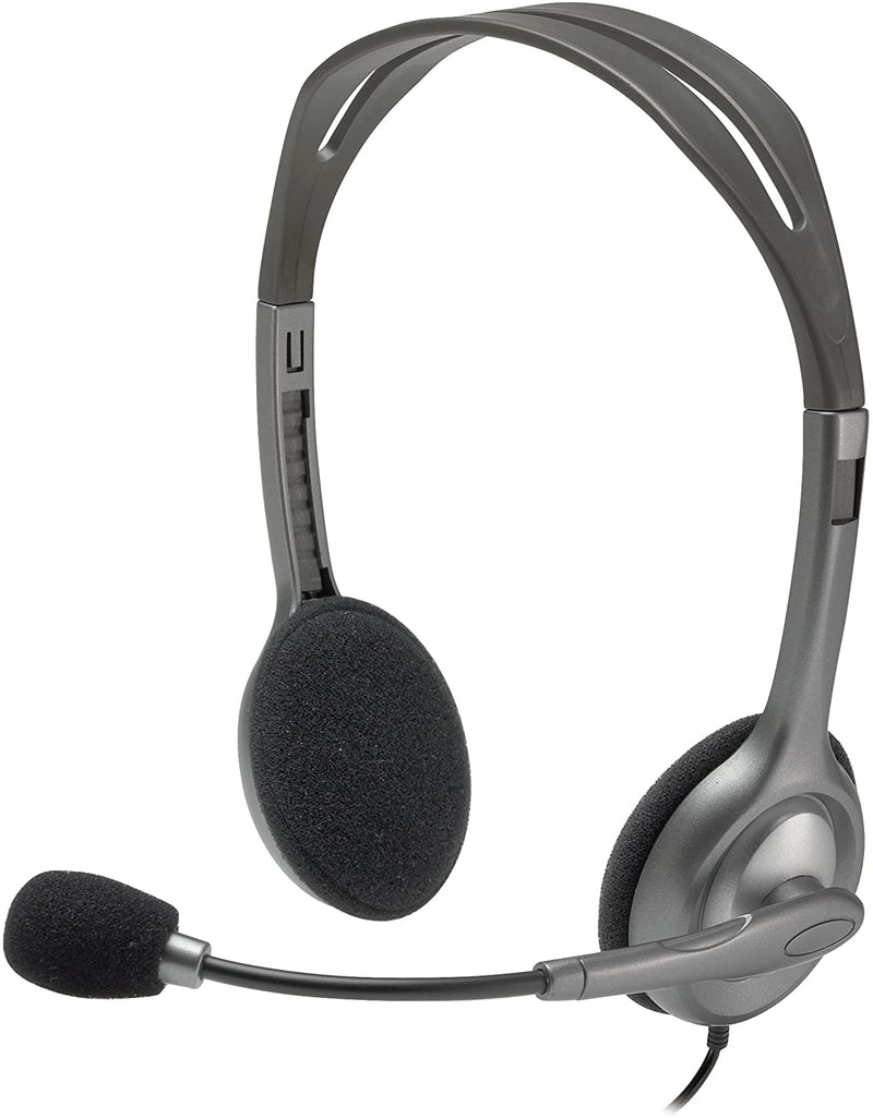 Logitech H111 Binaural Over-The-Head Stereo Headset, Black and Silver (981-000612)