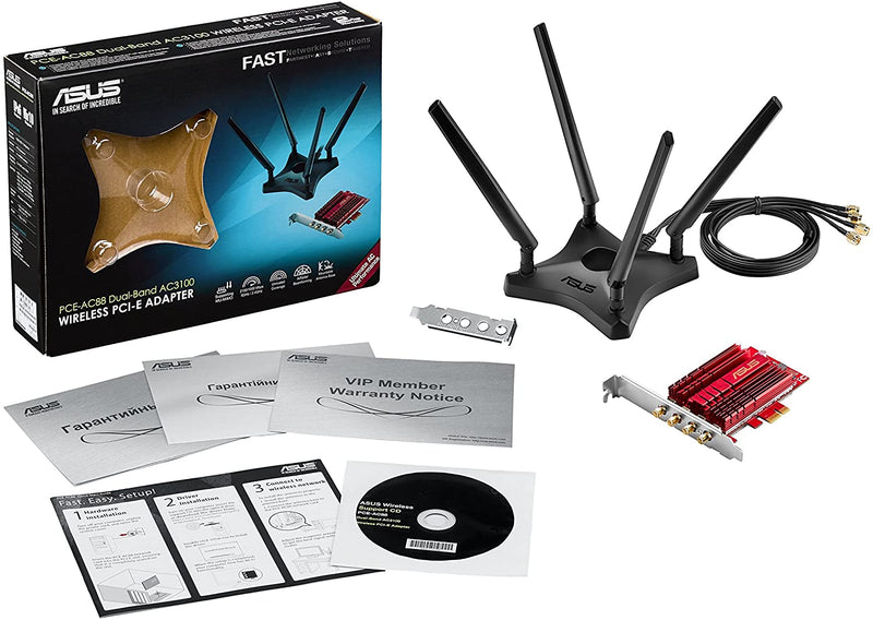 ASUS PCE-AC88 Dual-Band 4x4 AC3100 WiFi PCIe adapter with Heat Sink and External magnetic antenna base allows flexible antenna placement to maximize coverage