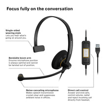 Load image into Gallery viewer, Sennheiser SC 30 (504546) USB ML - Single Sided Business Headset | For Skype for Business | HD Sound, Noise-Cancelling Microphone, & USB Connector