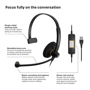 Sennheiser SC 30 (504546) USB ML - Single Sided Business Headset | For Skype for Business | HD Sound, Noise-Cancelling Microphone, & USB Connector