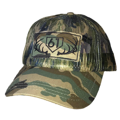 61 Antlers Plate ALL Mesh Hat Front View