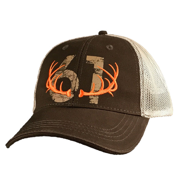 61 Antlers Trucker Hat - Brown, Front