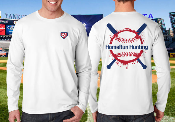 Baseball Splash image showing front of shirt with 61 in plate upper left corner & on back large baseball over crossed bats with HomeRun Hunting across ball