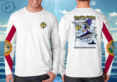 Front/Back image of FL Flag Marlin performance shirt