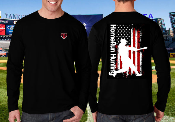Back of this black shirt has the Maris 61 Swing silhouette over a vertical flag with HomeRun Hunting