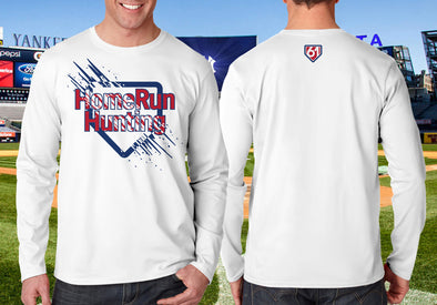 HomeRun Plate Burst white performance shirt image shows front with red HomeRun Hunting over blue home plate outline with burst art and on back, a white 61 within a  small red-filled blue home plate centered below the neckline