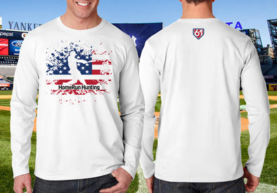 Maris 61 Swing Silouhette white performance shirt Image shows iconic Maris home run swing in white silhouette over partial  American flag, HomeRun Hunting below Maris. Centered on the upper back is a white 61 within a small red-filled home plate outlined in blue.