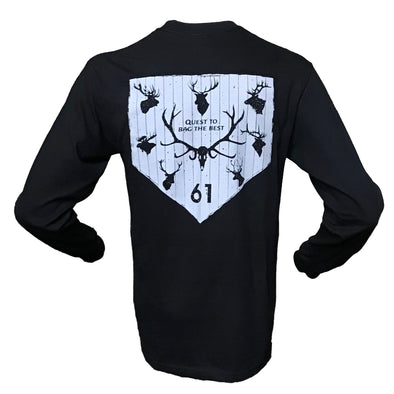 Image of Back of Mounted Racks Tee Black Long sleeve