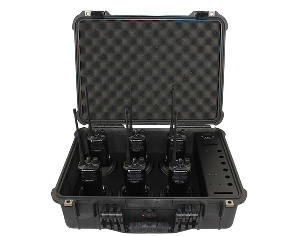 6 Gang Lot Motorola CP200 UHF 438-470Mhz 16Ch Business Radio W/ Pelican Case Kit