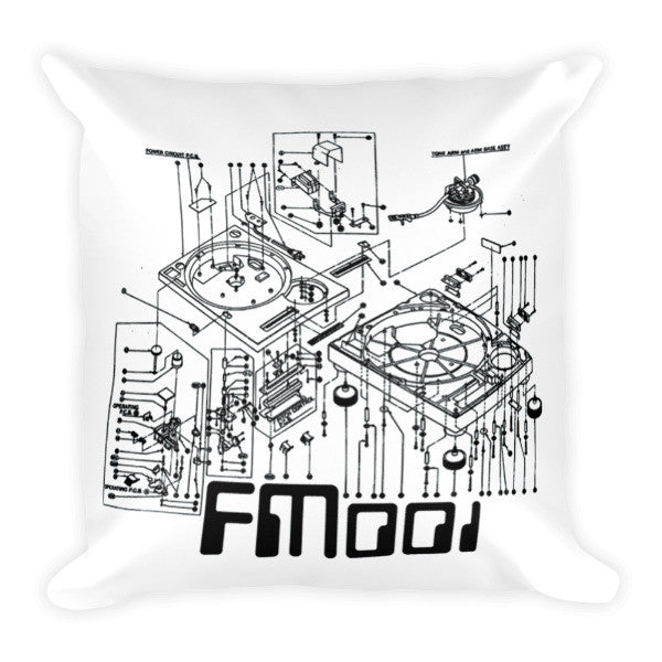 001 Turntable Logo Throw Pillow White with Black Logo Art