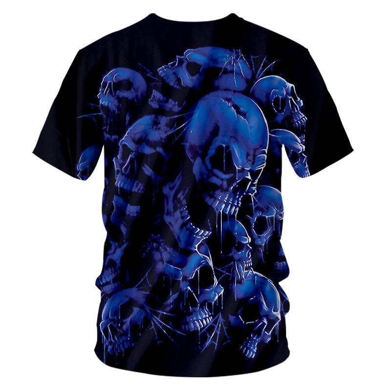 Casual Tshirts Cool Blue Skull 3D T-shirt