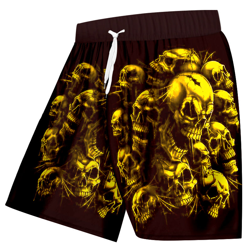 Shorts Men Quick Dry Gold Broken Skull