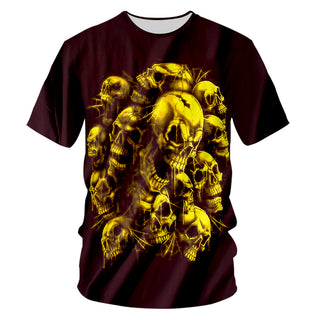 Casual Tshirts Cool Gold Skull 3D T-shirt