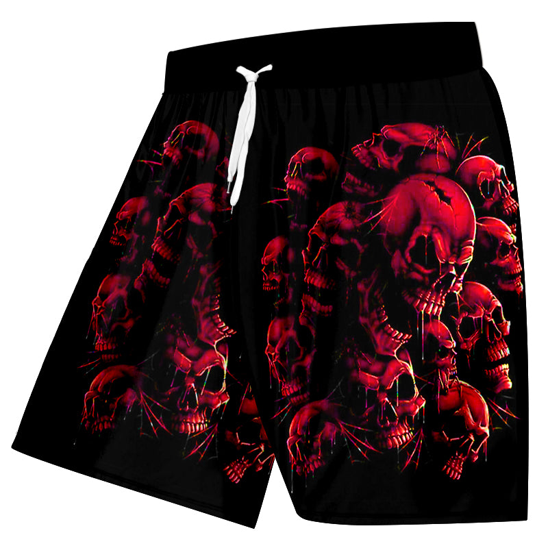 Shorts Men Quick Dry Polyester Red Broken Skull