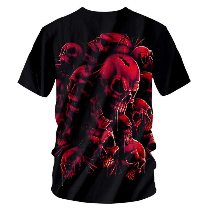Casual Tshirts Cool Red Skull 3D T-shirt