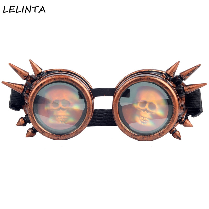 Vintage Steampunk Cyber Goggles 3D Skull