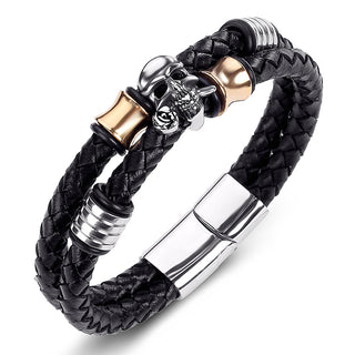 Skull Bracelet Braided Leather Rope Chain