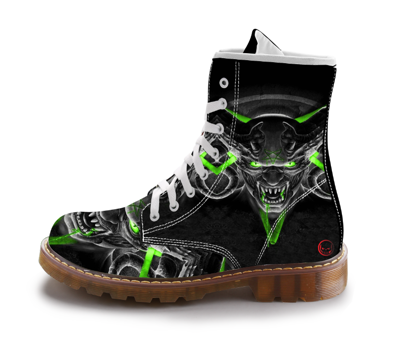 Boots Men Black Skull Shoes