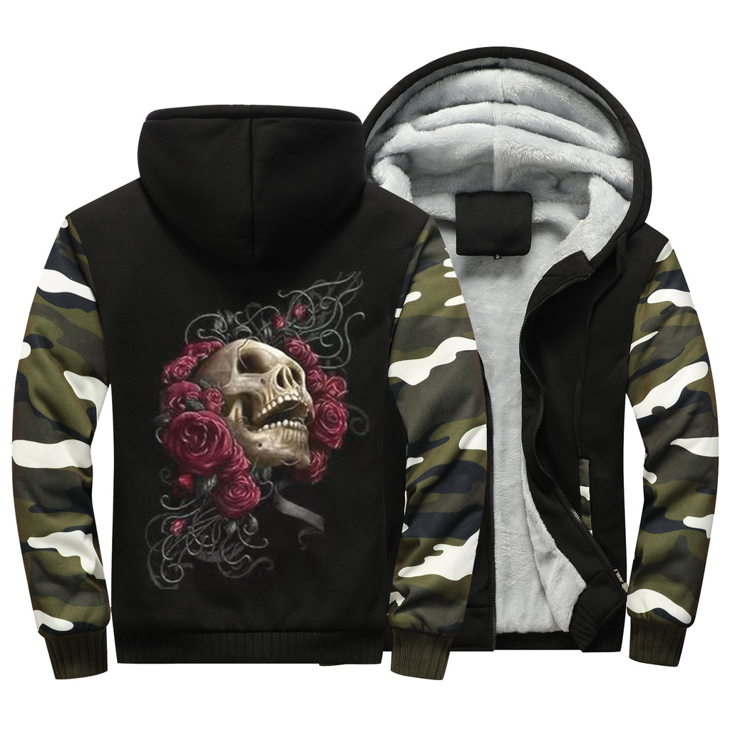 3D Gothic Skull Jacket winter thicken fleece