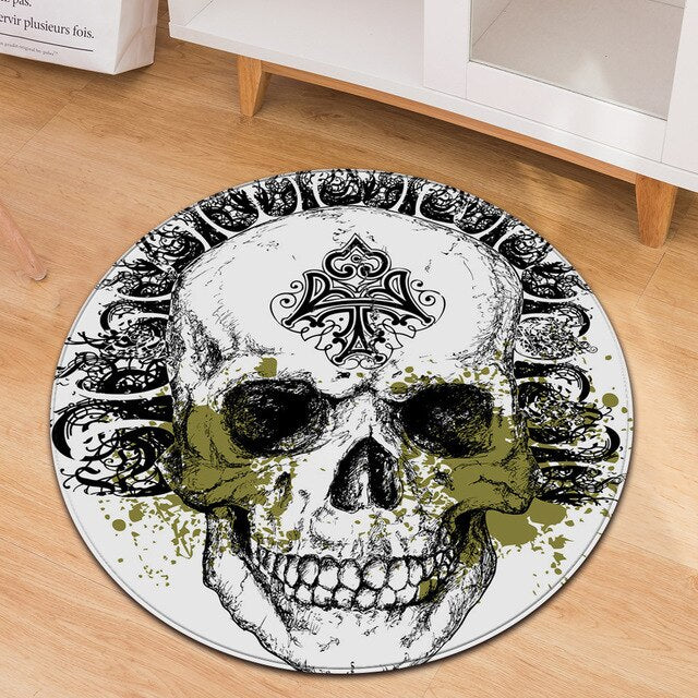 3D Skull Round Rug Soft Flannel carpet
