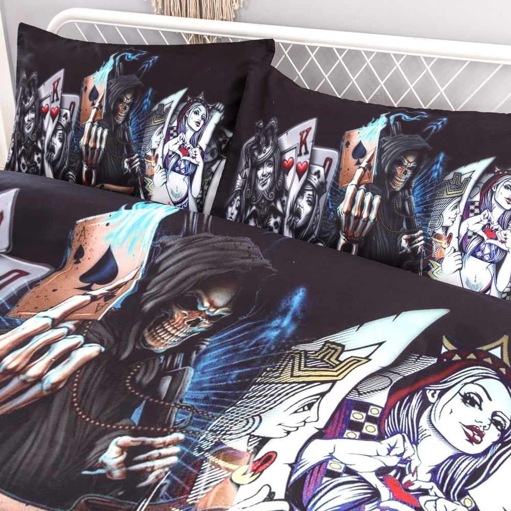 Poker/Skull pattern bed linen
